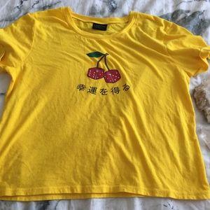 Yellow Cherry Dice Crop Top